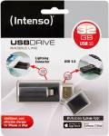 Intenso USB Stick 32GB Speicherstick iMobile Line schwarz USB 3.0 mit Apple Lightning
