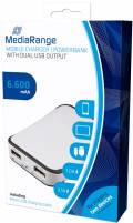 Mediarange Powerbank mobile Ladestation 6600 mAh Ladegerät 2x USB OUT weiß