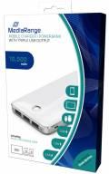 Mediarange Powerbank mobile Ladestation 10000 mAh Ladegerät 3x USB OUT weiß