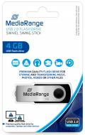 Mediarange USB Stick 4GB Speicherstick Swivel Swing silber