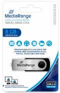 Mediarange USB Stick 8GB Speicherstick Swivel Swing silber