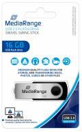Mediarange USB Stick 16GB Speicherstick Swivel Swing silber