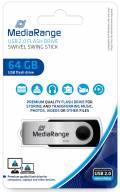 Mediarange USB Stick 64GB Speicherstick Swivel Swing silber