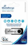 Mediarange USB Stick 128GB Speicherstick Swivel Swing silber