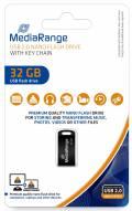 Mediarange USB Stick 32GB Speicherstick Nano inkl. Schlüsselanhänger schwarz