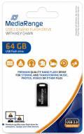 Mediarange USB Stick 64GB Speicherstick Nano inkl. Schlüsselanhänger schwarz