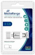 Mediarange USB Stick 8GB Speicherstick Nano inkl. Micro USB Adapter silber