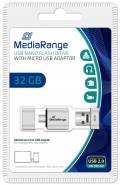 Mediarange USB Stick 32GB Speicherstick Nano inkl. Micro USB Adapter silber