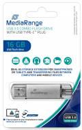 Mediarange USB Stick 16GB Speicherstick Combo silber Typ C USB 3.1