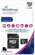 Mediarange Micro SDXC Karte 64GB Speicherkarte Class 10