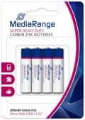 4 Mediarange Super Heavy Duty AAA / Micro Zink-Kohle Batterien im 4er Blister