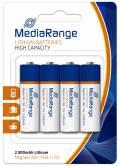 4 Mediarange Professional AA / Mignon Lithium Batterien im 4er Blister