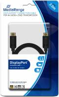 Mediarange DisplayPort Kabel Ver. 1.2 Ethernet Gold 4K ULTRA HD 3D 2 m schwarz