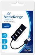 Mediarange USB Hub 1 : 4 USB Stromversorgung über USB schwarz