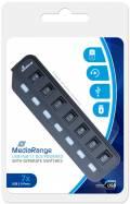 Mediarange USB Hub 1 : 7 USB einzeln schaltbar schwarz