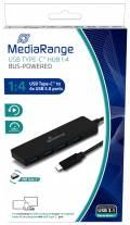 Mediarange USB Hub Typ C 1 : 4 USB 3.0 USB schwarz