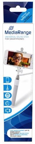 Mediarange Selfie Stick für Smartphone mit Auslöser 88 cm ausziehbar grau weiß