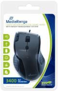 Mediarange Maus Gaming Laser kabelgebunden 7 Button wired 4600 dpi schwarz, grau Restposten
