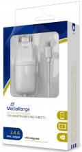 Mediarange USB Ladegerät Charger Universal 2.4A Micro USB Kabel weiß