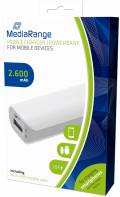 Mediarange Powerbank mobile Ladestation 2600 mAh Ladegerät USB OUT weiß