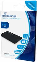Mediarange Powerbank mobile Ladestation Card 680 mAh Ladegerät USB OUT schwarz Restposten