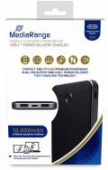 Mediarange Powerbank mobile Ladestation 10000 mAh Ladegerät USB Typ C 2x USB OUT schwarz