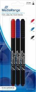 3 Mediarange Marker für BD / CD / DVD blau, rot, schwarz