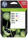 4 HP Druckerpatronen Tinte Nr. 364 XL BK / C / M / Y Multipack