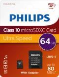 Philips Micro SDXC Karte 64GB Speicherkarte UHS-I U1 Class 10