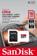 Sandisk Micro SDHC Karte 16GB Speicherkarte Ultra UHS-I 98 MB/s A1 Class 10