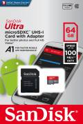Sandisk Micro SDXC Karte 64GB Speicherkarte Ultra Android UHS-I U1 100 MB/s A1 Class 10
