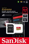 Sandisk Micro SDXC Karte 64GB Speicherkarte Extreme UHS-I U3 4K 100 MB/s V30 A1 Class 10