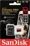 Sandisk Micro SDXC Karte 64GB Speicherkarte Extreme Pro UHS-I U3 4K 170 MB/s V30 A2 Class 10