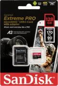 Sandisk Micro SDXC Karte 128GB Speicherkarte Extreme Pro UHS-I U3 4K 170 MB/s V30 A2 Class 10