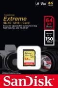 Sandisk SDXC Karte 64GB Speicherkarte Extreme UHS-I U3 4K 150 MB/s V30 Class 10