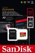 Sandisk Micro SDXC Karte 512GB Speicherkarte Extreme UHS-I U3 4K 160 MB/s V30 A2 Class 10