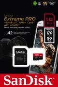 Sandisk Micro SDXC Karte 512GB Speicherkarte Extreme Pro UHS-I U3 4K 170 MB/s V30 A2 Class 10