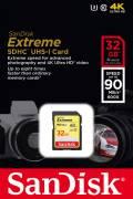Sandisk SDHC Karte 32GB Speicherkarte Extreme UHS-I U3 4K 90 MB/s V30 Class 10