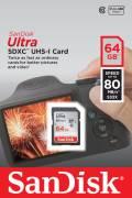 Sandisk SDXC Karte 64GB Speicherkarte Ultra UHS-I 80 MB/s SDSDUNC-064G-GN6IN Class 10