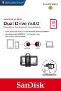 Sandisk USB Stick 16GB Speicherstick Ultra Dual Drive m3.0 grau OTG USB 3.0 mit Micro USB