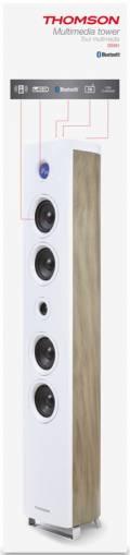 Thomson Bluetooth Lautsprecher System 2.1 Sound Tower DS301 weiß Holz TH343137