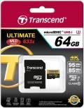 Transcend Micro SDXC Karte 64GB Speicherkarte Ultimate 633x UHS-I U3 4K Class 10