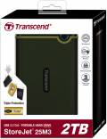 Transcend HDD externe Festplatte StoreJet 25M3 2,5 Zoll 2TB USB 3.1 military green