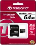 Transcend Micro SDXC Karte 64GB Speicherkarte Premium 300x UHS-I Class 10