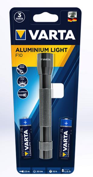 Varta Taschenlampe LED Aluminium Light F10 inkl. 2x AA Batterien 16627