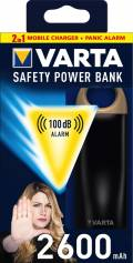 Varta 2in1 Safety Powerbank mobile Ladestation 2600 mAh Ladegerät USB OUT schwarz Restposten