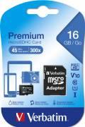 Verbatim Micro SDHC Karte 16GB Speicherkarte Premium UHS-I Class 10
