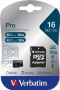 Verbatim Micro SDHC Karte 16GB Speicherkarte Pro UHS-I U3 4K Class 10