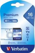 Verbatim SDHC Karte 16GB Speicherkarte Premium UHS-I Class 10