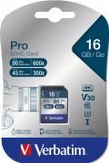 Verbatim SDHC Karte 16GB Speicherkarte Pro UHS-I U3 4K Class 10